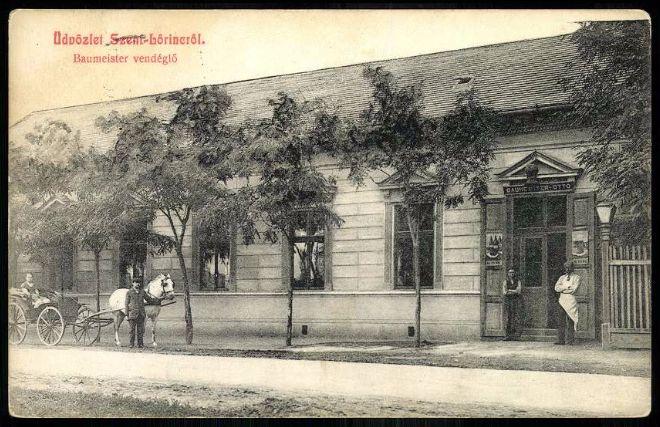 A Baumeister vendéglő képeslapon (forrás: Hungaricana, Magyar Kereskedelmi és Vendéglátóipari Múzeum)